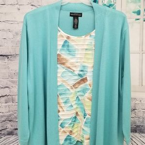 🌼Alfred Dunner🍃 Turquoise Sweater Set, Size 3X